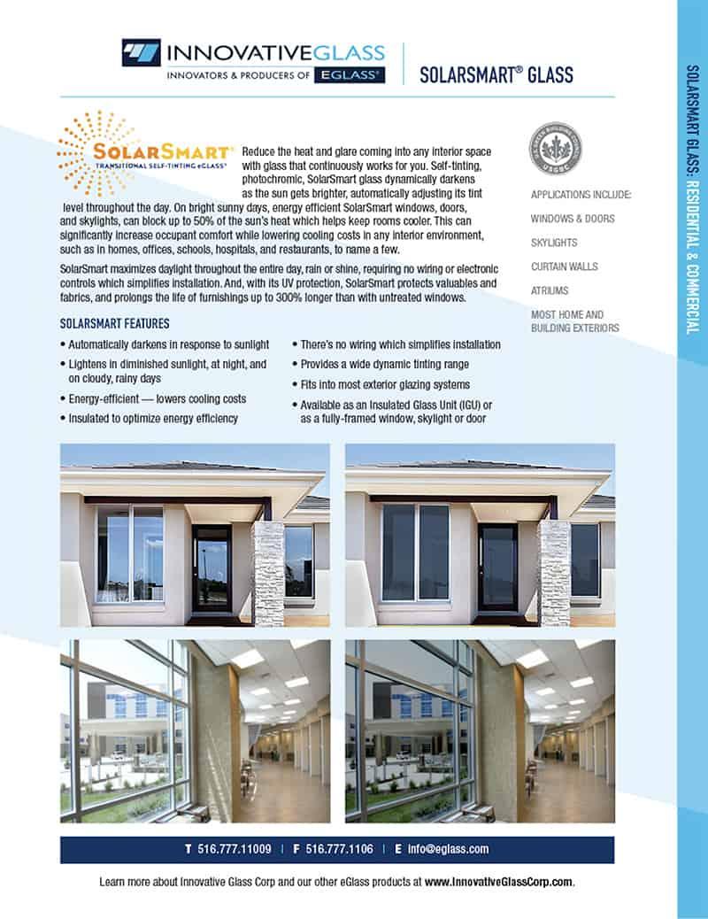 solarsmart glass product sheet
