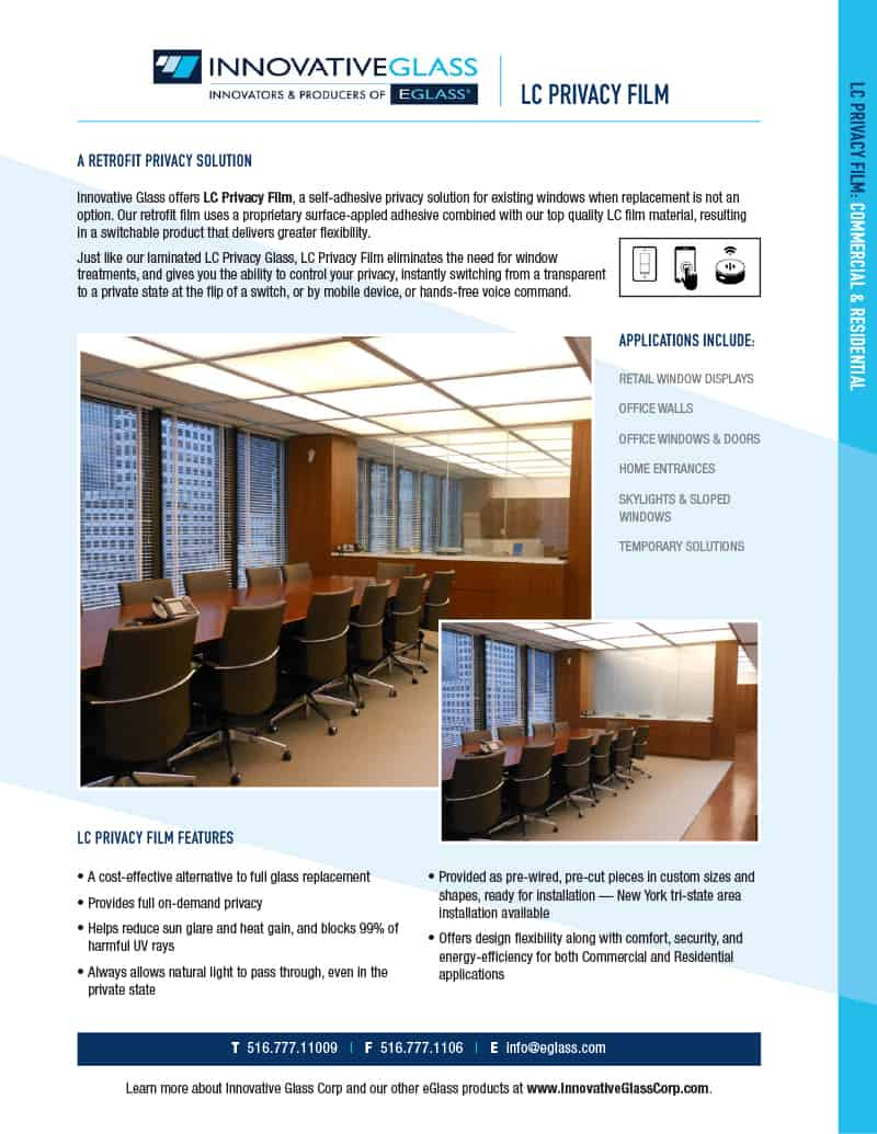 LC privacy film product sheet